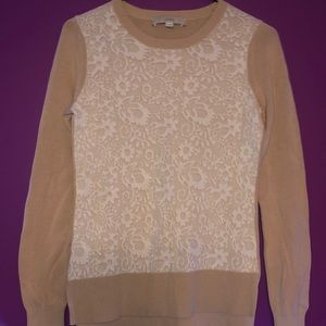 Loft - Sweater, Tan, With Lace Design